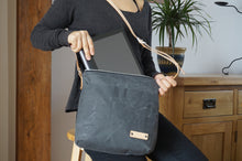 Load image into Gallery viewer, Grey Wax Coated Everyday Shoulder Bag - Slate Cross Body Bag style: SPRING