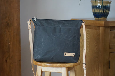 Grey Wax Coated Everyday Shoulder Bag - Slate Cross Body Bag style: SPRING