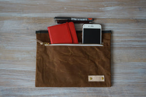 Gold Wax Coated Zip Pouch - Honey Simple Unisex Zip Pouch Bag, style: OVA, new collection: EARTH