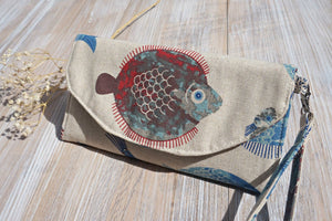 Fish and Tiny Leaves Blue Wristlet Purse