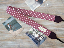 Load image into Gallery viewer, Polkadots Camera Strap - Plum DSLR Camera Strap -  Photography Accessories - Plum Polka Dots Camera Strap with Cap Pocket