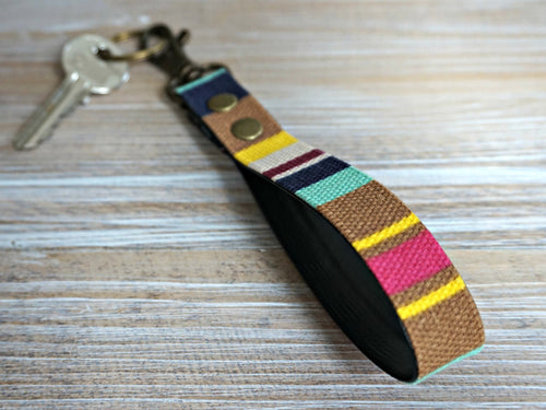 Rainbow KeyFob - Stripe Ribbon Keyring - Aztec Tribal Unique Key Chain - Wristlet Key Fob with Clips and Split Ring