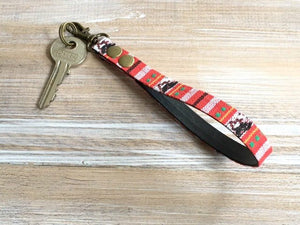 Red Stripe KeyFob - Stripe Narrow Tape Keyring - Aztec Tribal Unique Key Chain - Wristlet Key Fob with Clips and Split Ring