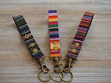 Load image into Gallery viewer, Rainbow Stripe KeyFob - Rainbow Ribbon Keyring - Aztec Tribal Unique Key Chain - Wristlet Key Fob with Lobster Clips and Split Ring