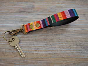 Rainbow Stripe KeyFob - Rainbow Ribbon Keyring - Aztec Tribal Unique Key Chain - Wristlet Key Fob with Lobster Clips and Split Ring