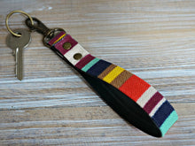 Load image into Gallery viewer, Rainbow KeyFob - Stripe Ribbon Keyring - Aztec Tribal Unique Key Chain - Wristlet Key Fob with Clips and Split Ring