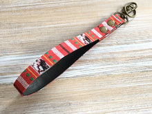 Load image into Gallery viewer, Red Stripe KeyFob - Stripe Narrow Tape Keyring - Aztec Tribal Unique Key Chain - Wristlet Key Fob with Clips and Split Ring