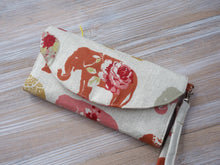 Load image into Gallery viewer, Elephant Fabric Wallet - Polka Dots Women's Wristlet Purse