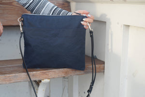 Navy Blue Wax Canvas Bag - Blue Wax Coated Canvas Shoulder Bag - Genuine Leather Strap Crossbody Bag - Everyday Bag - style: MED