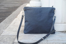 Load image into Gallery viewer, Navy Blue Wax Canvas Bag - Blue Wax Coated Canvas Shoulder Bag - Genuine Leather Strap Crossbody Bag - Everyday Bag - style: MED