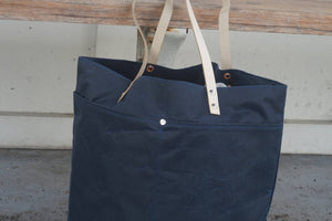 Navy Blue Wax Coated Tote Bag - Zip Opening Everyday Bag Style AUT