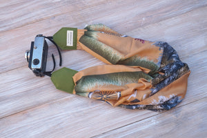 Light Brown Scarf Camera Strap -  Bicycle Design Scarf DSLR Camera Strap - Photoshooting Tools -  Scarf Neck Strap