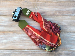 Red Scarf Camera Strap -  Bicycle Design Scarf DSLR Camera Strap - Photoshooting Tools -  Red DSLR Strap -Camera Geeks
