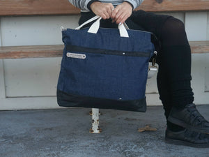 Large Denim Bag - Weekender Shoulder Bag - style: OASIS