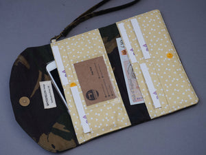 Camo Wax Coated Wristlet Purse - Camouflage Canvas Wallet
