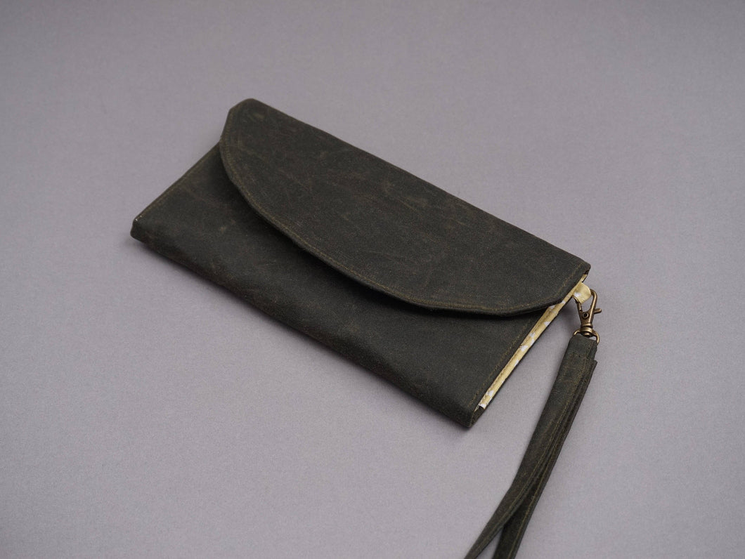 Green Wax Coated Wristlet Purse - Olive Green Canvas Wallet