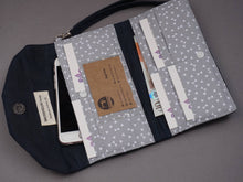 Load image into Gallery viewer, Navy Blue Wax Coated Wristlet Purse - Blue Canvas Wallet for Ladies