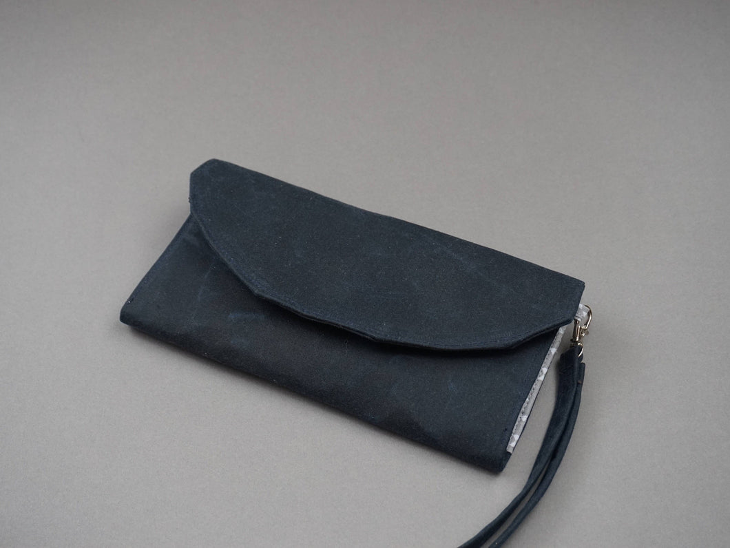 Navy Blue Wax Coated Wristlet Purse - Blue Canvas Wallet for Ladies