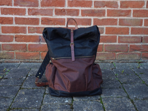 Waxed Canvas Back Bag - Rollup Top style: WREK
