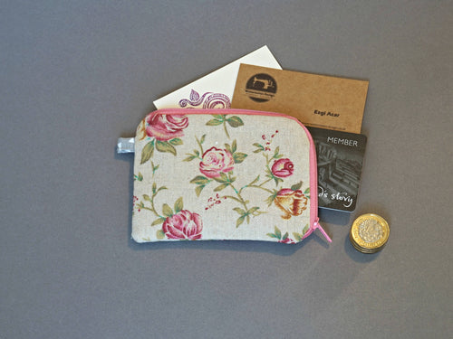 Roses Coin Purse - Small Coin Purse - Cotton Linen Coin Purse - Red Roses Coin Purse - Floral Small Zipper Pouch