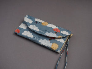Rainclouds and Umbrella Wristlet Purse - Birds and Rainclouds Wallets