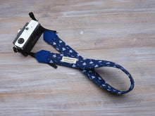 Load image into Gallery viewer, Paper Boat Camera Strap - Navy  DSLR Camera Strap - Nautical Photography - Camera Accessories - Personalised Gifts