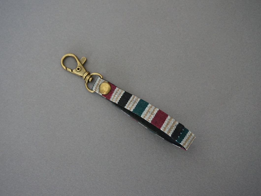 Plum Stripe Keyfob - Minimal  KeyChain- Unique Key Chain - Stripe Tape Key fob with Swivel Lobster Clasps