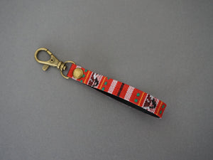 Red Stripe Keyfob - Minimal  KeyChain- Red Keyfob - Stripe Tape Key fob with Swivel Lobster Clasps - New House Gifts