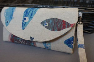 Nautical Theme Women's Wristlet Purse - Fish Design Wallet