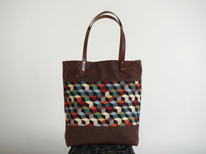 Brown Canvas & African Inspired Print Panel Shoulder Bag - Style: JUNE