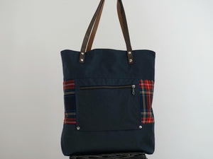 Navy Blue  Canvas & Plaid Panel Shoulder Bag - style: JUNE