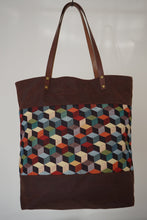 Load image into Gallery viewer, Brown Canvas & African Inspired Print Panel Shoulder Bag - Style: JUNE
