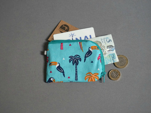 Parrots  Coin Purse - Animal Theme Coin Purse - Turqoise Coin Purse - Little Zipper Pouch - Cute Zip Purse