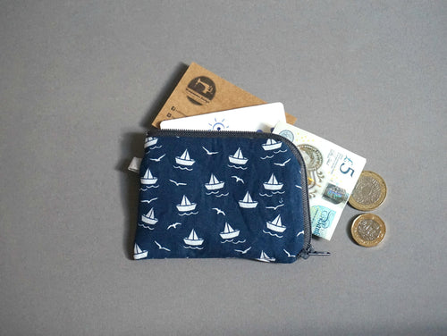 Paperboat Coin Purse - Nautical Coin Purse - Navy Blue Coin Purse - Little Zipper Pouch - Cute Zip Purse