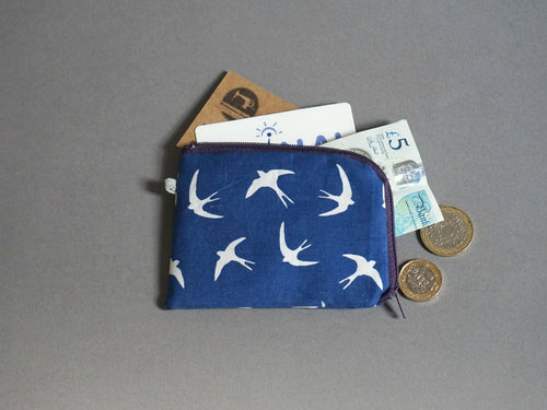 Swallows  Coin Purse - Birds Coin Purse - Little Zipper Pouch - Navy Blue Cute Zip Purse