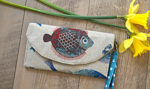 Fish Tank Fabric Wristlet Wallet - Fish Design Polka Dots Ladies Purse