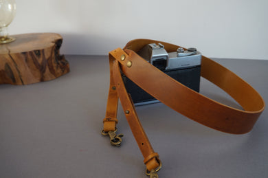 Brown Leather Camera Strap - Handmade Adjustable Leather DSLR Camera Strap style: AIDA