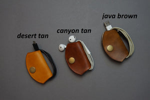 Leather Earphone Wrap Holder