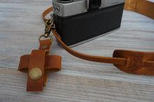 Load image into Gallery viewer, Leather Lens Cap Holder Case, Personalized Leather Camera Accessories