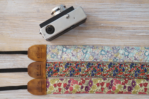 Mini Floral Camera Strap - Red Purple Strap