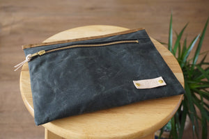 Olive Green Wax Coated Zip Pouch - Simple Unisex Zip Pouch Bag, style: OVA, new collection: EARTH