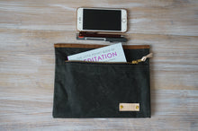 Load image into Gallery viewer, Olive Green Wax Coated Zip Pouch - Simple Unisex Zip Pouch Bag, style: OVA, new collection: EARTH