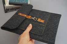 Load image into Gallery viewer, Grey Felt iPad Tablet Sleeve Case style: GRIW
