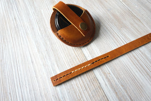 Leather Lens Cap Holder Case, Personalized Leather Camera Accessories