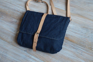 Small Denim Crossbody Bag - Blue Back Bag - style PETTY
