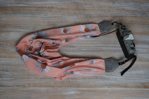Salmon Pink Daisy Scarf Camera Strap - Dust Pink Daisy Shawl DSLR Strap - Gifts for Photographers