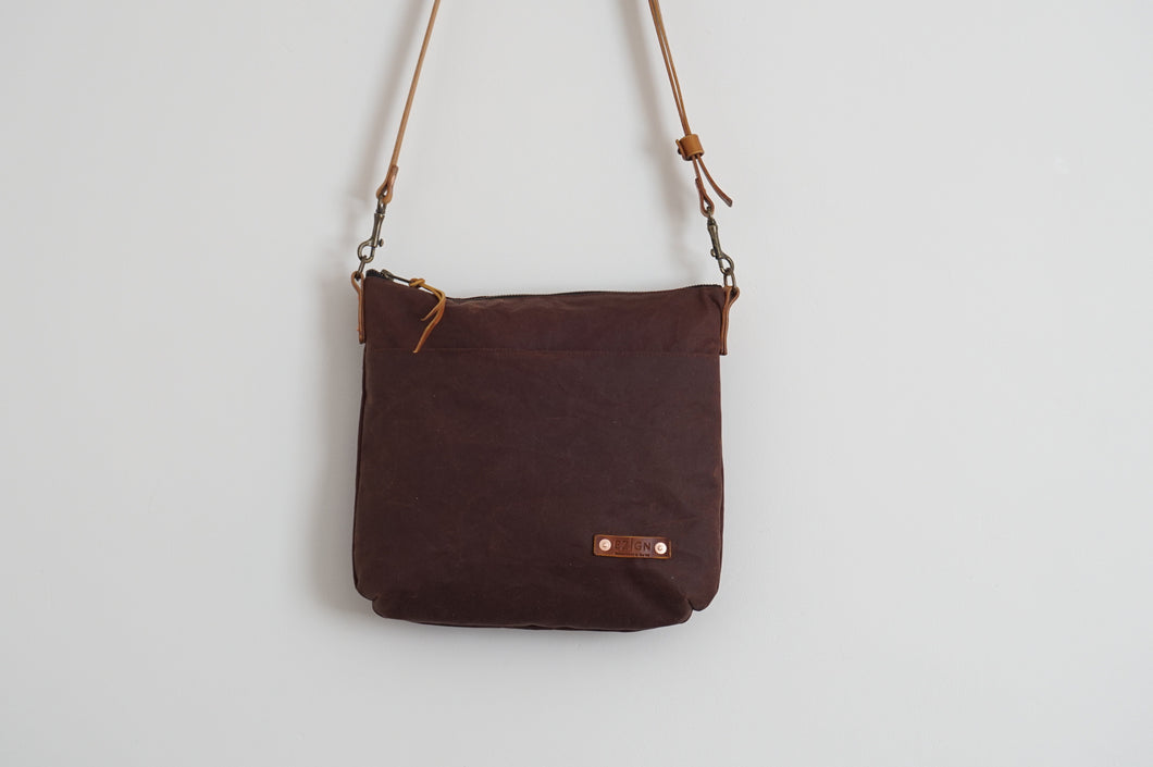 Brown Wax Coated Everyday Shoulder Bag - Cross Body Bag style: SPRING 2020 Edition