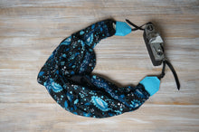 Load image into Gallery viewer, Teal Blue Paisley  Scarf Camera Strap - Floral Shawl DSLR Strap - Outdoor Photography