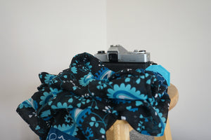 Teal Blue Paisley  Scarf Camera Strap - Floral Shawl DSLR Strap - Outdoor Photography