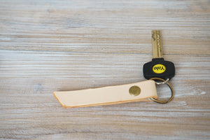 Personalised Keyfob - Veg. Tanned Natural Genuine Leather - style KUM